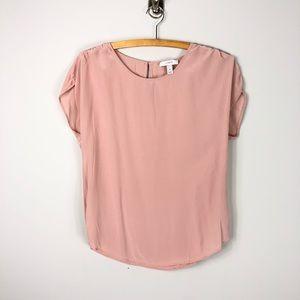 J. Crew Silk Blush Pink Blouse Shirred Sleeves